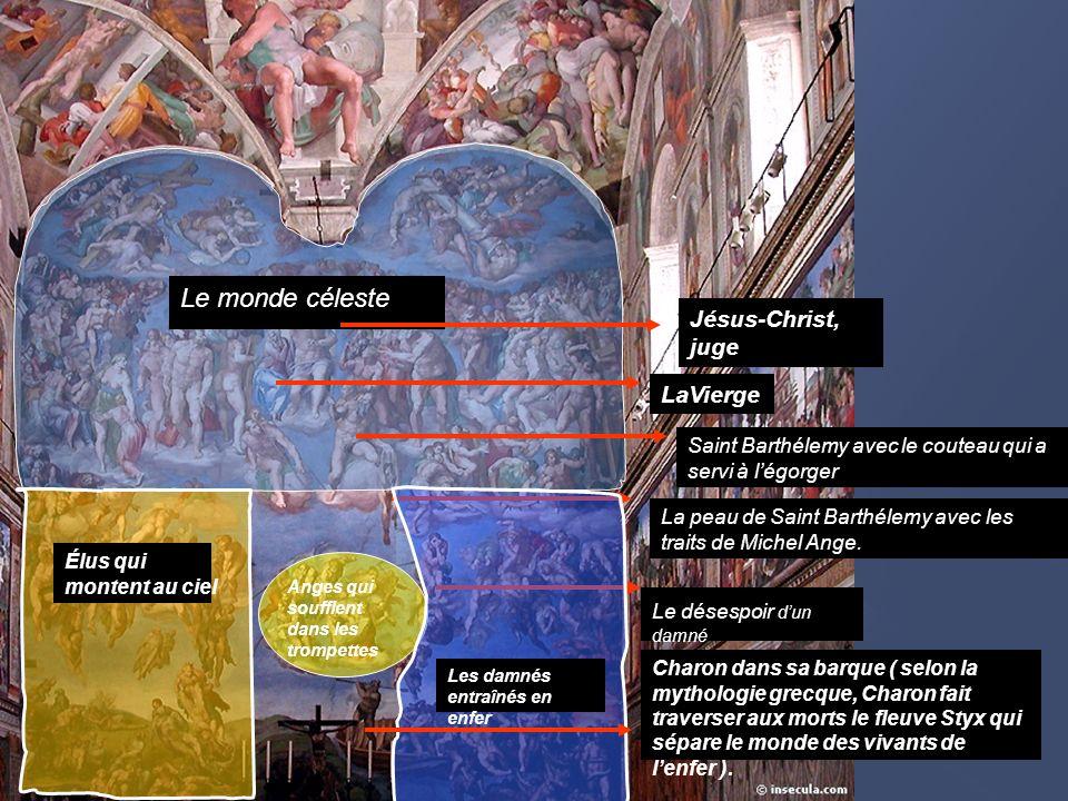 Le monde céleste La peau de Saint Barthélemy avec les traits de Michel Ange. Jésus-Christ, juge LaVierge Saint Barthélemy avec le couteau qui a servi