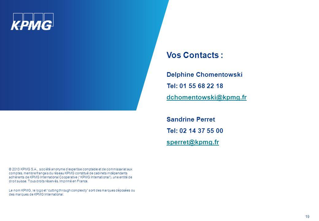 © 2013 KPMG S.A., société anonyme dexpertise comptable et de commissariat aux comptes, membre français du réseau KPMG constitué de cabinets indépendants adhérents de KPMG International Cooperative (KPMG International), une entité de droit suisse.