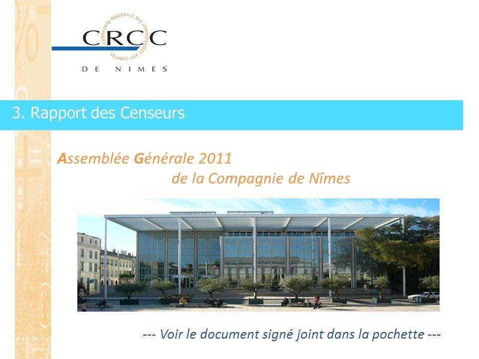 3. Rapport des Censeurs Assemblée Générale 2011 de la Compagnie de Nîmes --- Voir le document signé joint dans la pochette ---