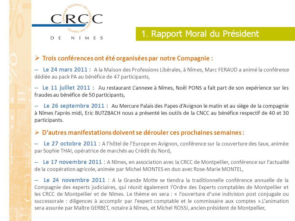 1. Rapport Moral du Président Trois conférences ont été organisées par notre Compagnie : -- Le 24 mars 2011 : A la Maison des Professions Libérales, à
