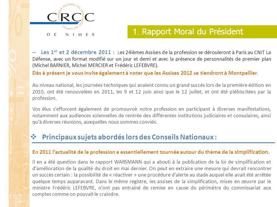 1. Rapport Moral du Président -- Les 1 er et 2 décembre 2011 : Les 24ièmes Assises de la profession se dérouleront à Paris au CNIT La Défense, avec un