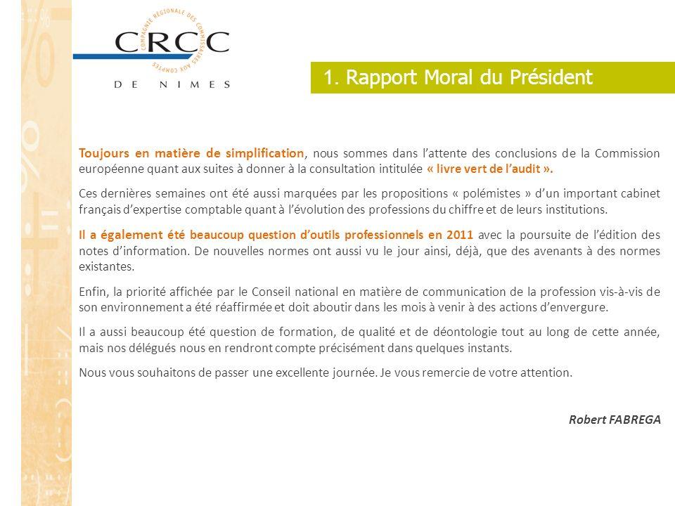 1. Rapport Moral du Président Toujours en matière de simplification, nous sommes dans lattente des conclusions de la Commission européenne quant aux s