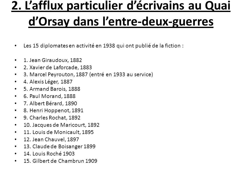 2. Lafflux particulier décrivains au Quai dOrsay dans lentre-deux-guerres Les 15 diplomates en activité en 1938 qui ont publié de la fiction : 1. Jean