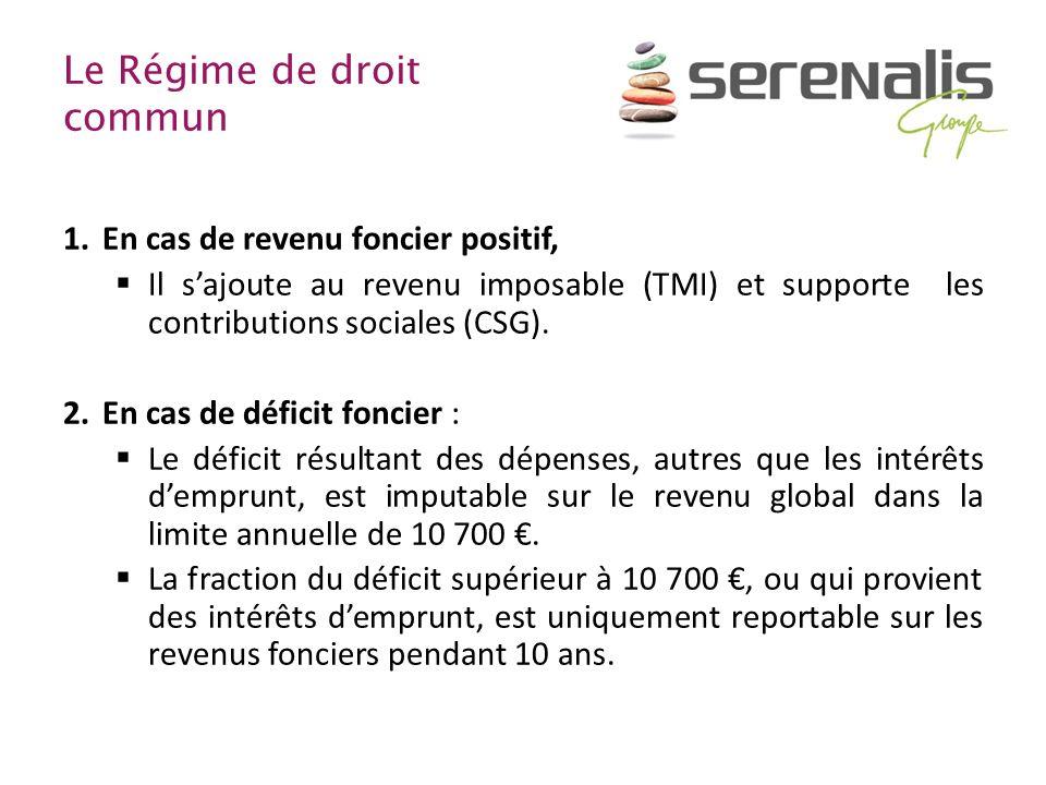 Le Régime de droit commun 1.En cas de revenu foncier positif, Il sajoute au revenu imposable (TMI) et supporte les contributions sociales (CSG). 2.En