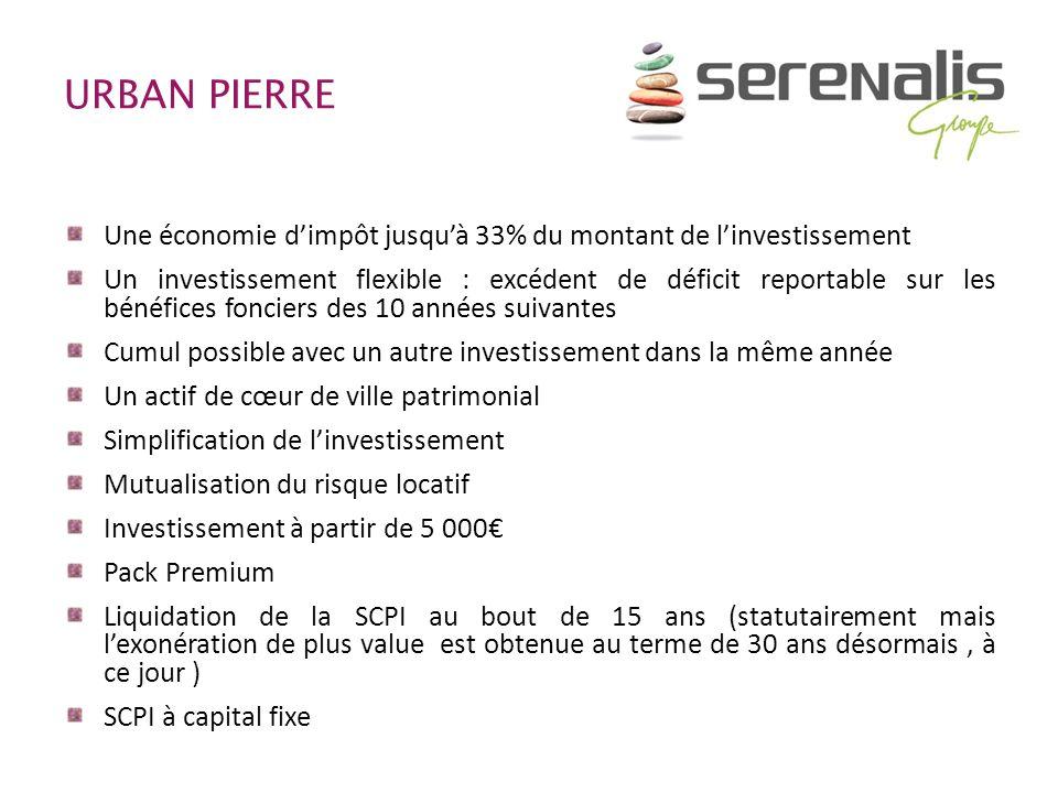 URBAN PIERRE Une économie dimpôt jusquà 33% du montant de linvestissement Un investissement flexible : excédent de déficit reportable sur les bénéfice
