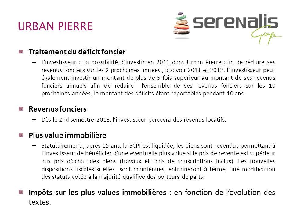 URBAN PIERRE Traitement du déficit foncier – Linvestisseur a la possibilité dinvestir en 2011 dans Urban Pierre afin de réduire ses revenus fonciers s