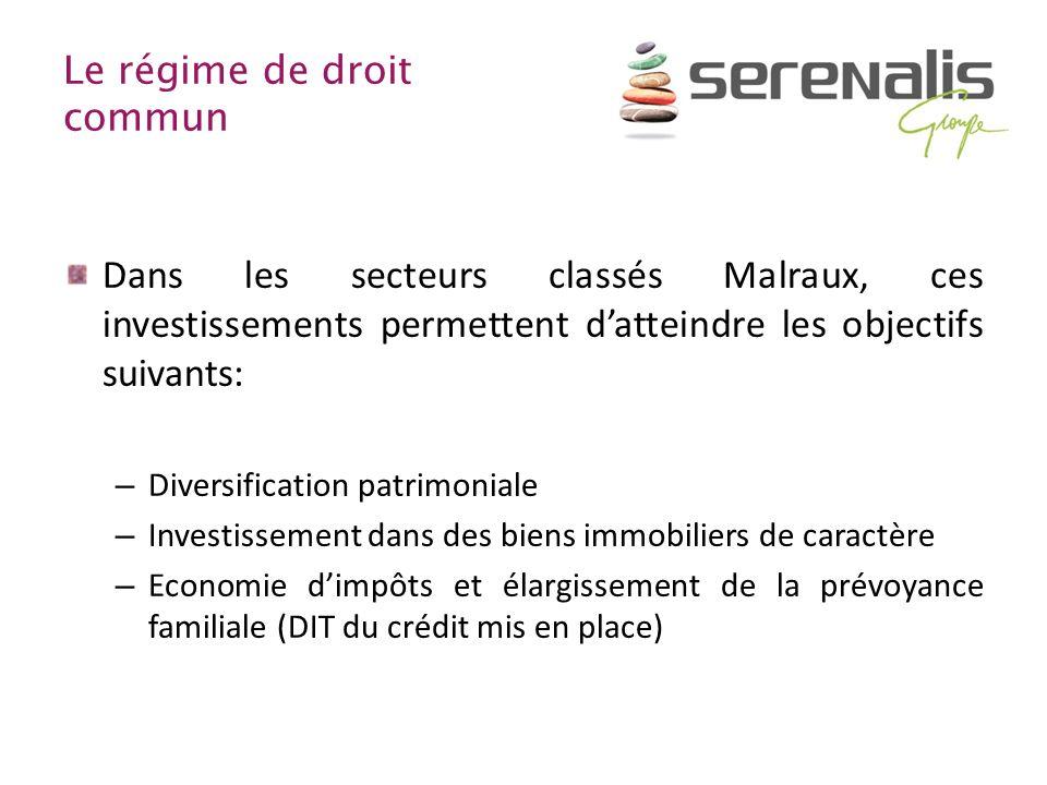Le régime de droit commun Dans les secteurs classés Malraux, ces investissements permettent datteindre les objectifs suivants: – Diversification patri