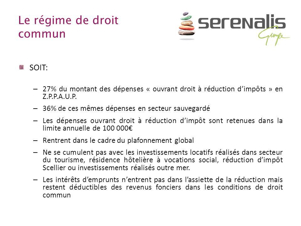 Le régime de droit commun SOIT: – 27% du montant des dépenses « ouvrant droit à réduction dimpôts » en Z.P.P.A.U.P. – 36% de ces mêmes dépenses en sec