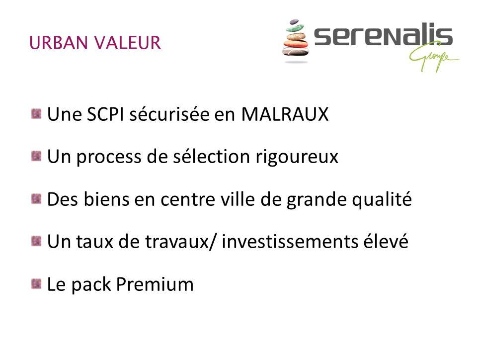 URBAN VALEUR Une SCPI sécurisée en MALRAUX Un process de sélection rigoureux Des biens en centre ville de grande qualité Un taux de travaux/ investiss