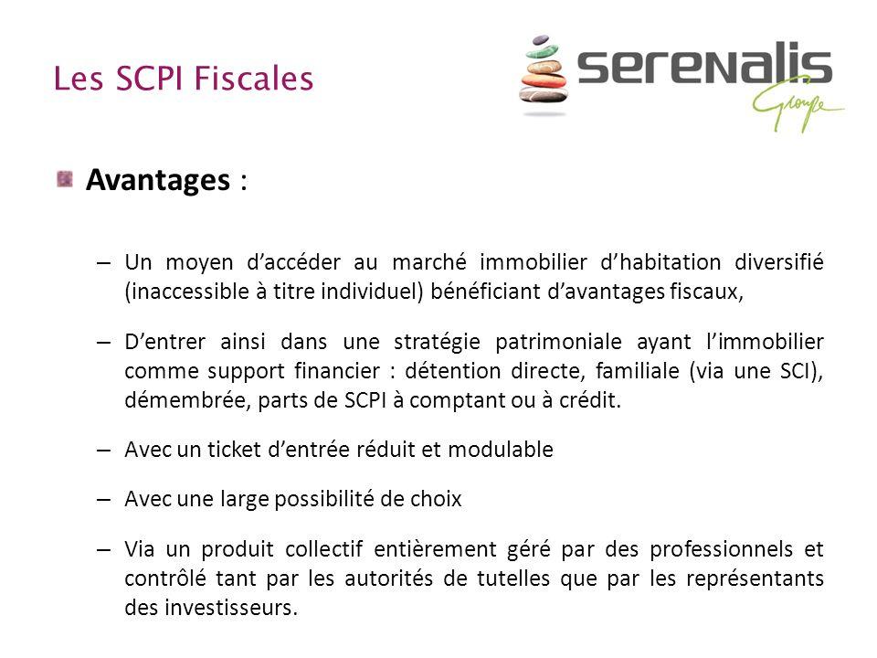 Les SCPI Fiscales Avantages : – Un moyen daccéder au marché immobilier dhabitation diversifié (inaccessible à titre individuel) bénéficiant davantages