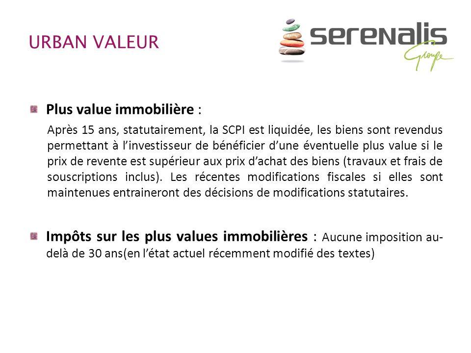 URBAN VALEUR Plus value immobilière : Après 15 ans, statutairement, la SCPI est liquidée, les biens sont revendus permettant à linvestisseur de bénéfi