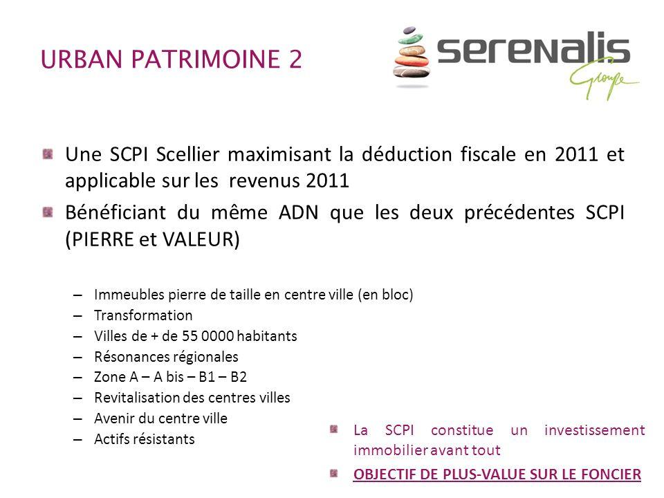URBAN PATRIMOINE 2 Une SCPI Scellier maximisant la déduction fiscale en 2011 et applicable sur les revenus 2011 Bénéficiant du même ADN que les deux p