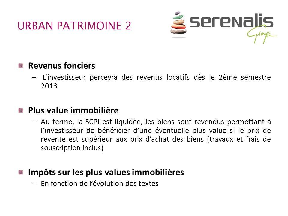 URBAN PATRIMOINE 2 Revenus fonciers – Linvestisseur percevra des revenus locatifs dès le 2ème semestre 2013 Plus value immobilière – Au terme, la SCPI