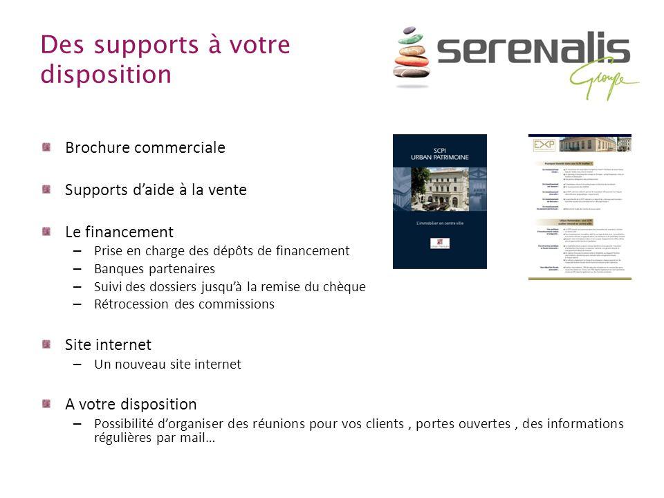 Des supports à votre disposition Brochure commerciale Supports daide à la vente Le financement – Prise en charge des dépôts de financement – Banques p
