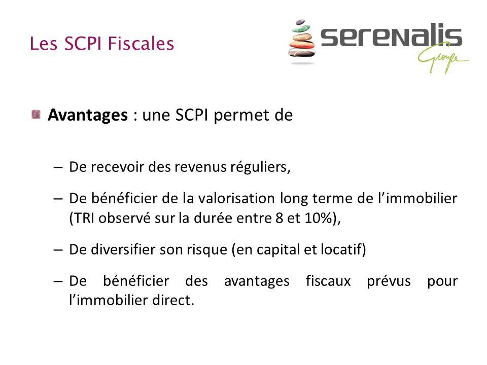 Les SCPI Fiscales Avantages : une SCPI permet de – De recevoir des revenus réguliers, – De bénéficier de la valorisation long terme de limmobilier (TR
