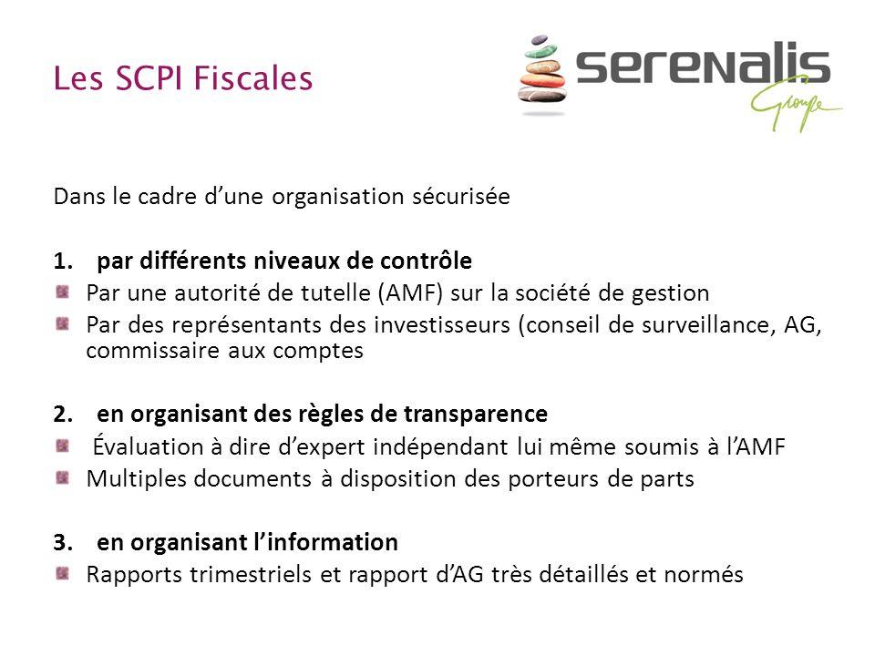 Les SCPI Fiscales Dans le cadre dune organisation sécurisée 1.par différents niveaux de contrôle Par une autorité de tutelle (AMF) sur la société de g