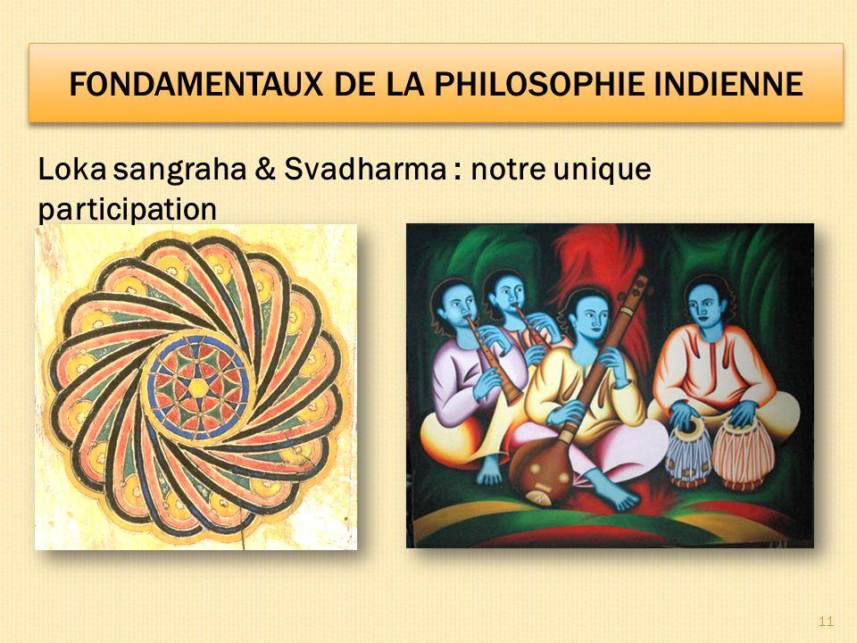 11 Loka sangraha & Svadharma : notre unique participation FONDAMENTAUX DE LA PHILOSOPHIE INDIENNE