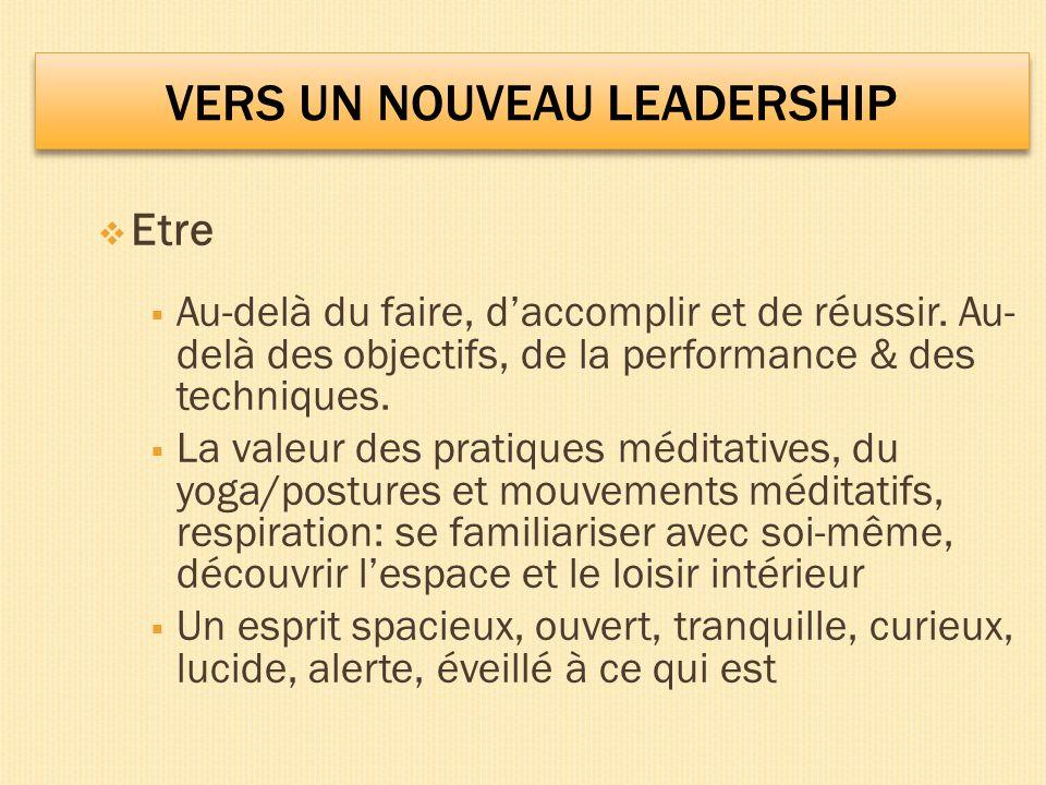 VERS UN NOUVEAU LEADERSHIP Etre Au-delà du faire, daccomplir et de réussir.