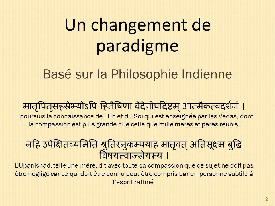PLAN 1.La scène du monde est en changement 2. Quelques fondamentaux de la Philosophie Indienne 3.
