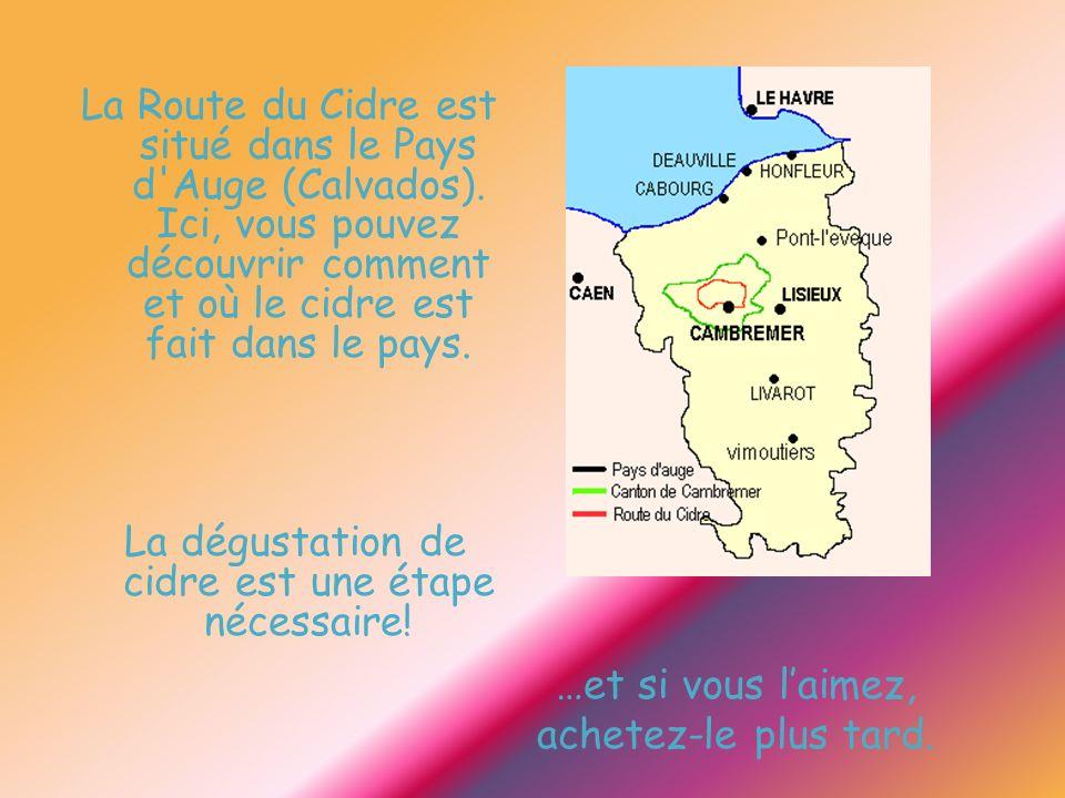 …et si vous laimez, achetez-le plus tard. La Route du Cidre est situé dans le Pays d'Auge (Calvados). Ici, vous pouvez découvrir comment et où le cidr