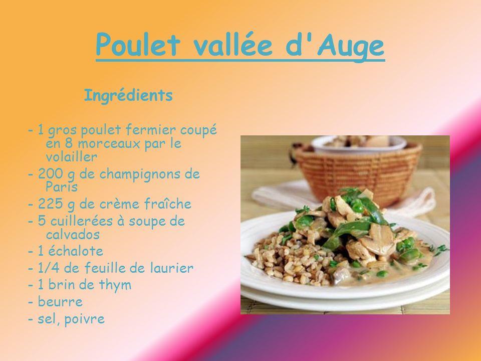 Poulet vallée d Auge Ingrédients - 1 gros poulet fermier coupé en 8 morceaux par le volailler - 200 g de champignons de Paris - 225 g de crème fraîche - 5 cuillerées à soupe de calvados - 1 échalote - 1/4 de feuille de laurier - 1 brin de thym - beurre - sel, poivre