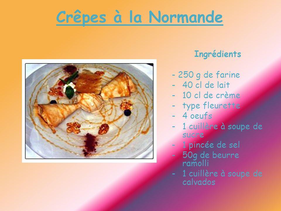 Crêpes à la Normande Ingrédients - 250 g de farine -40 cl de lait -10 cl de crème -type fleurette -4 oeufs -1 cuillère à soupe de sucre -1 pincée de sel -50g de beurre ramolli -1 cuillère à soupe de calvados