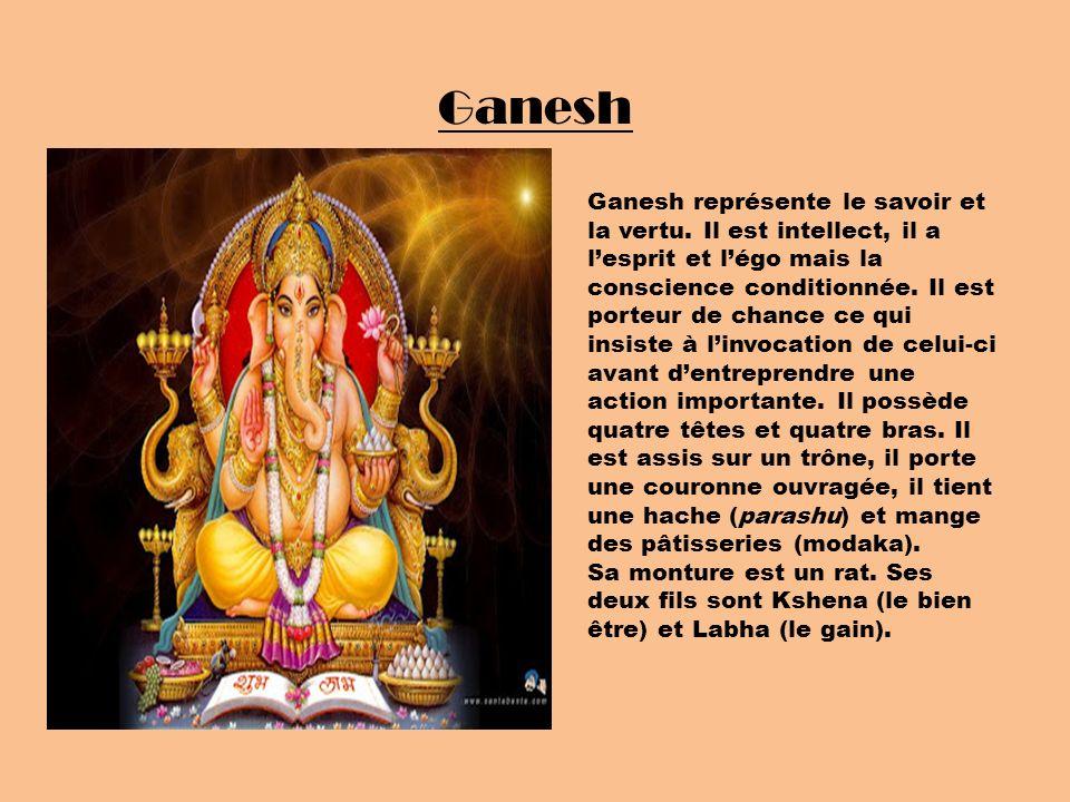 Ganesh Ganesh représente le savoir et la vertu. Il est intellect, il a lesprit et légo mais la conscience conditionnée. Il est porteur de chance ce qu