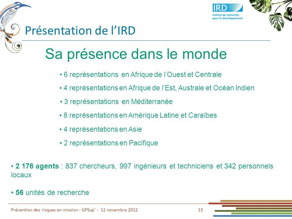Présentation de lIRD 13 Prévention des risques en mission - GPSup - 12 novembre 2012 6 représentations en Afrique de lOuest et Centrale Sa présence da