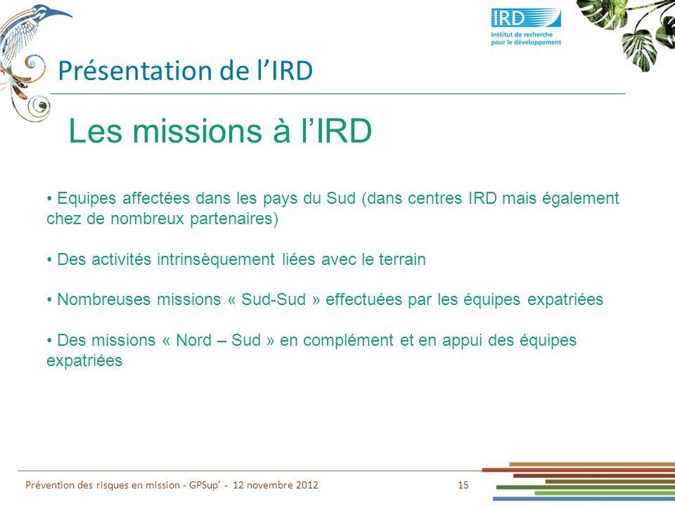 Présentation de lIRD 15 Prévention des risques en mission - GPSup - 12 novembre 2012 Les missions à lIRD Equipes affectées dans les pays du Sud (dans