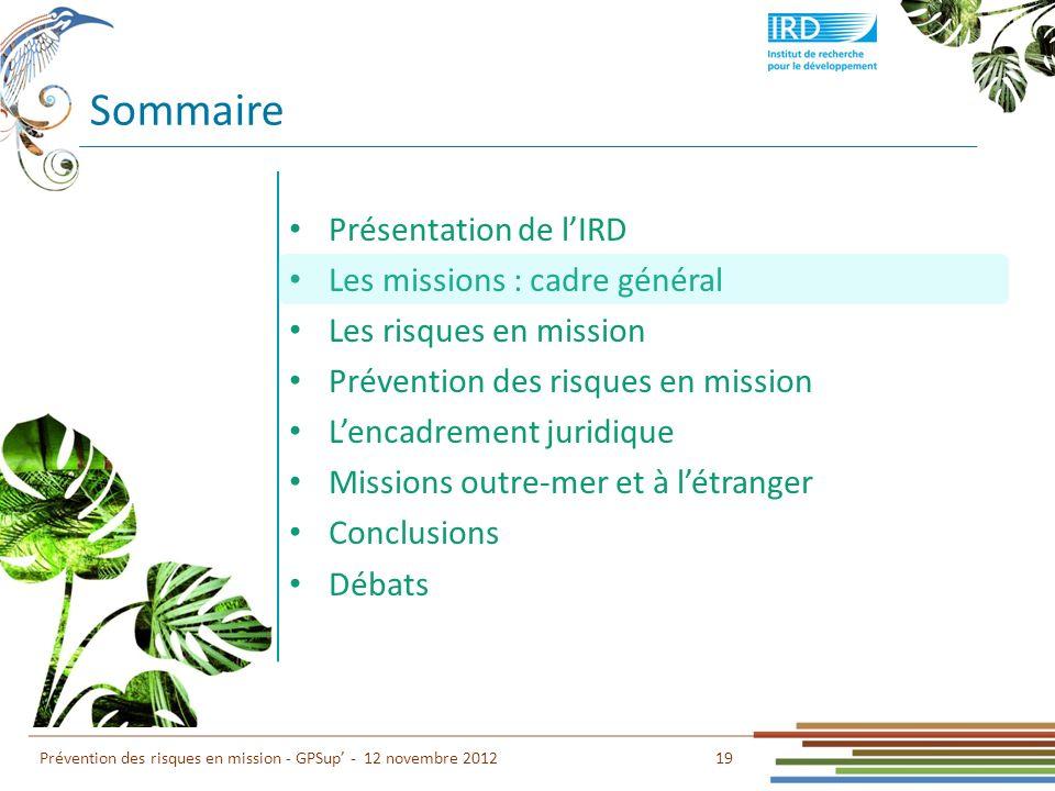 Sommaire Présentation de lIRD Les missions : cadre général Les risques en mission Prévention des risques en mission Lencadrement juridique Missions ou