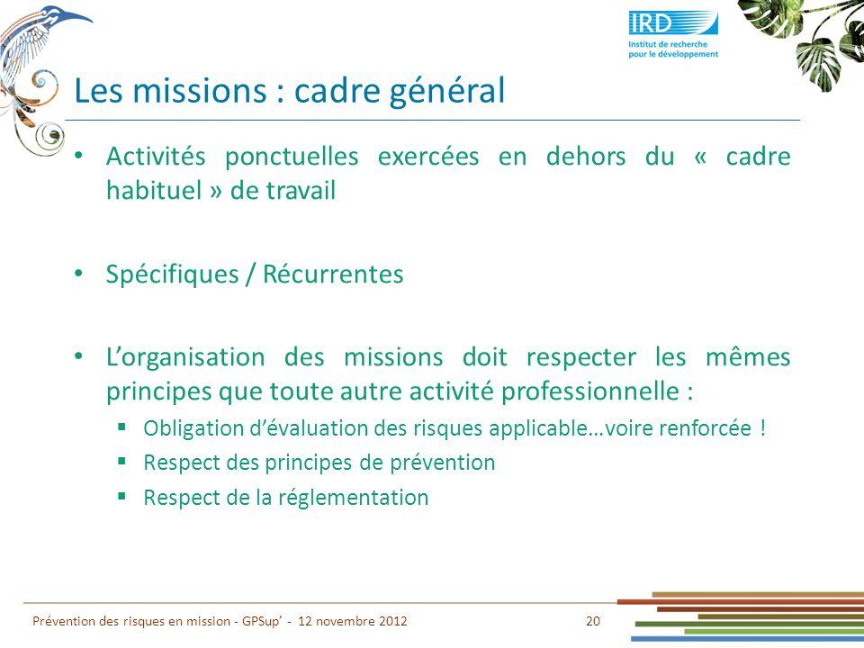 Les missions : cadre général 20 Prévention des risques en mission - GPSup - 12 novembre 2012 Activités ponctuelles exercées en dehors du « cadre habit