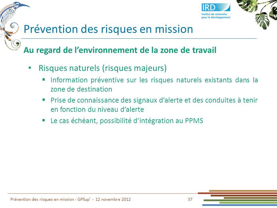 Prévention des risques en mission 37 Prévention des risques en mission - GPSup - 12 novembre 2012 Au regard de lenvironnement de la zone de travail Ri
