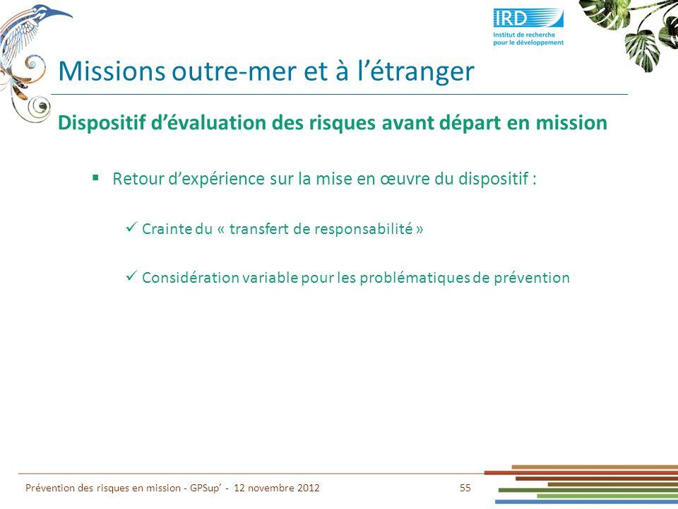 55 Prévention des risques en mission - GPSup - 12 novembre 2012 Dispositif dévaluation des risques avant départ en mission Retour dexpérience sur la m