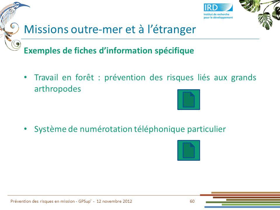60 Prévention des risques en mission - GPSup - 12 novembre 2012 Exemples de fiches dinformation spécifique Travail en forêt : prévention des risques l