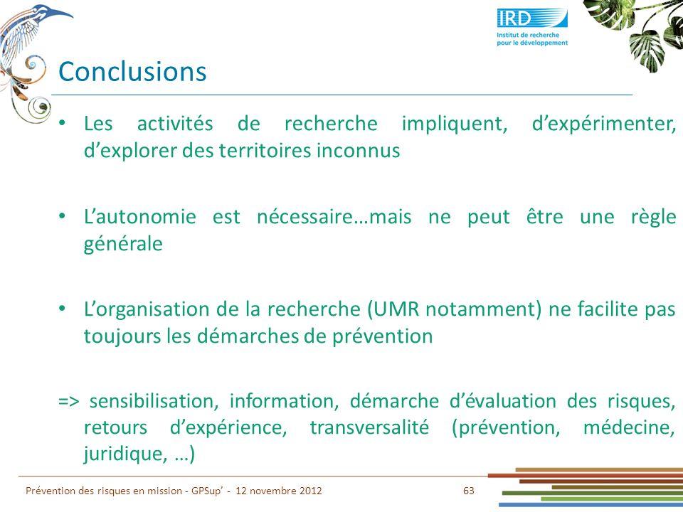 Conclusions 63 Prévention des risques en mission - GPSup - 12 novembre 2012 Les activités de recherche impliquent, dexpérimenter, dexplorer des territ