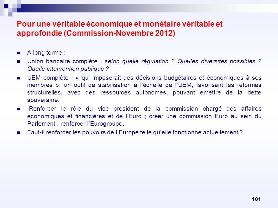 Pour une véritable économique et monétaire véritable et approfondie (Commission-Novembre 2012) A long terme : Union bancaire complète : selon quelle r
