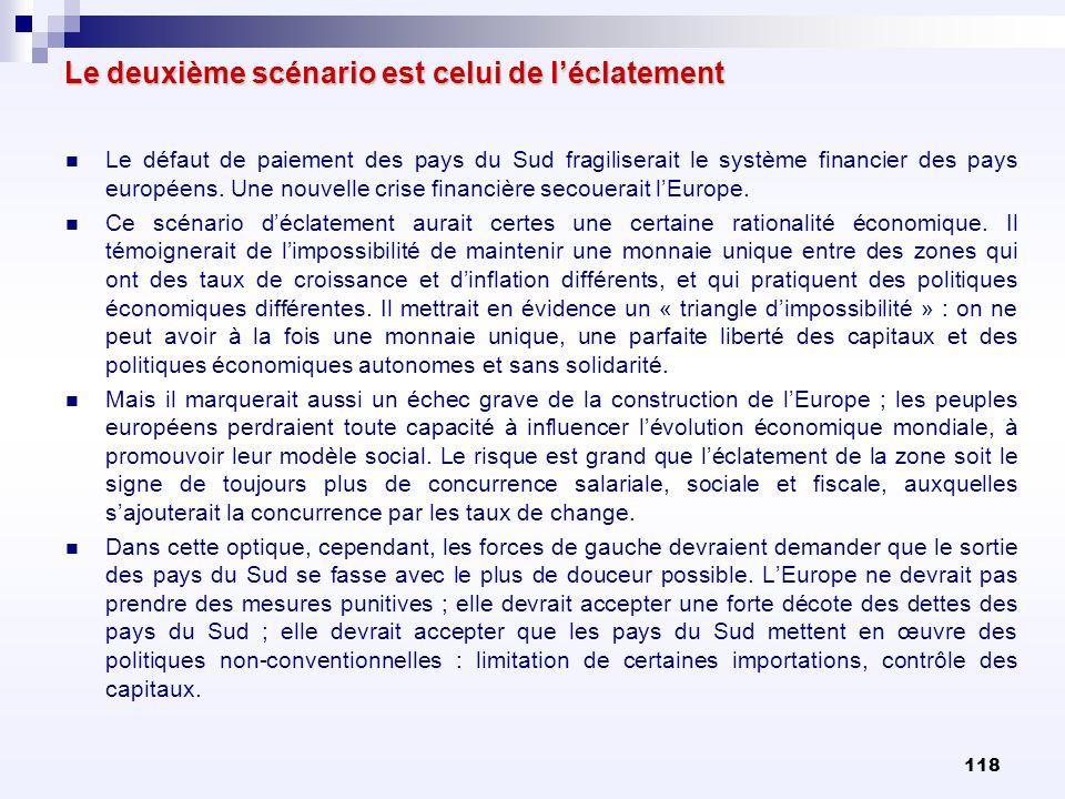 118 Le deuxième scénario est celui de léclatement Le défaut de paiement des pays du Sud fragiliserait le système financier des pays européens. Une nou