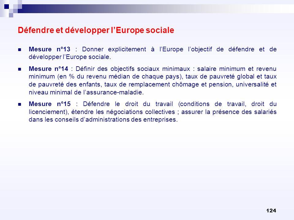 124 Mesure n°13 : Donner explicitement à lEurope lobjectif de défendre et de développer lEurope sociale. Mesure n°14 : Définir des objectifs sociaux m
