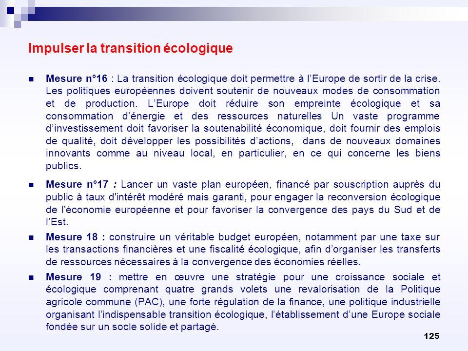 125 Mesure n°16 : La transition écologique doit permettre à lEurope de sortir de la crise. Les politiques européennes doivent soutenir de nouveaux mod