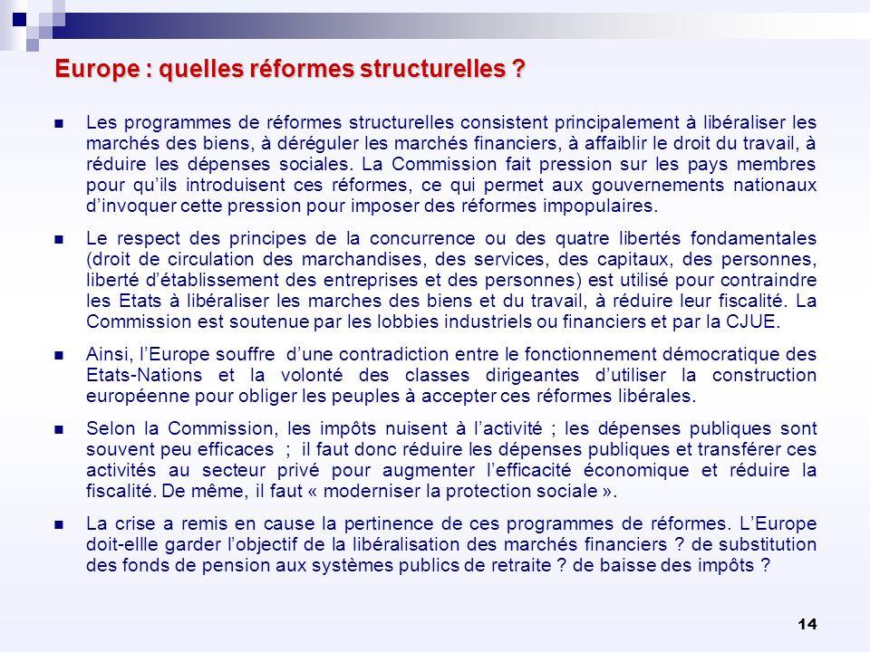 14 Europe : quelles réformes structurelles ? Les programmes de réformes structurelles consistent principalement à libéraliser les marchés des biens, à