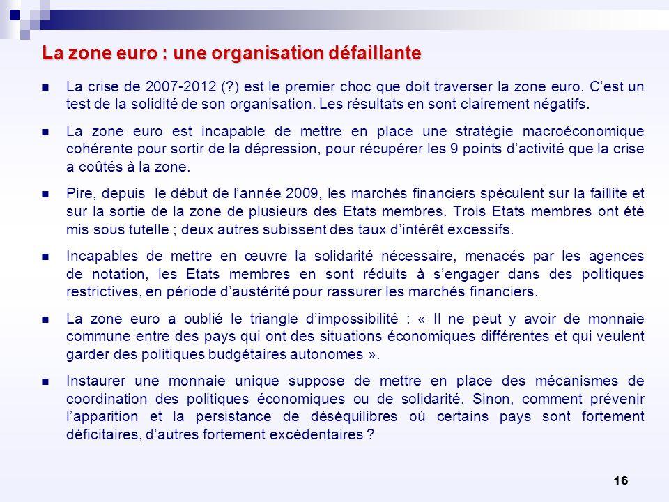16 La zone euro : une organisation défaillante La crise de 2007-2012 (?) est le premier choc que doit traverser la zone euro. Cest un test de la solid