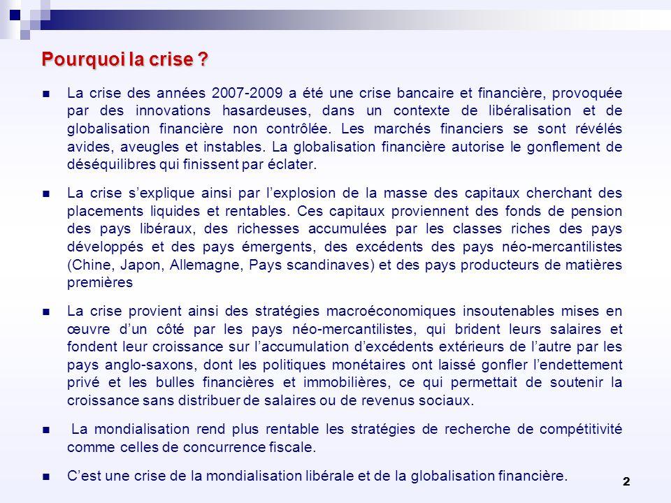 2 Pourquoi la crise ? La crise des années 2007-2009 a été une crise bancaire et financière, provoquée par des innovations hasardeuses, dans un context