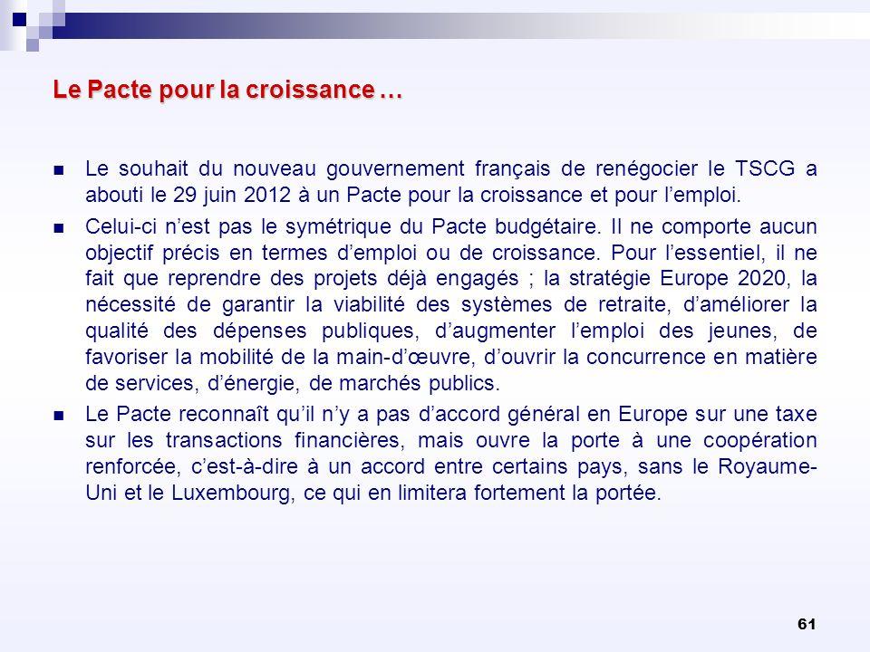 61 Le Pacte pour la croissance … Le souhait du nouveau gouvernement français de renégocier le TSCG a abouti le 29 juin 2012 à un Pacte pour la croissa