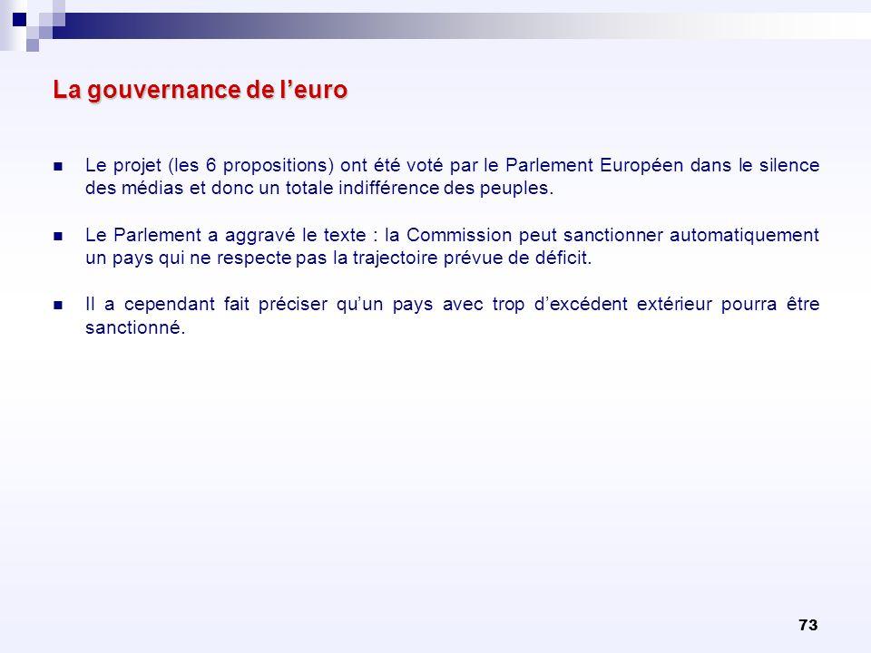 73 La gouvernance de leuro Le projet (les 6 propositions) ont été voté par le Parlement Européen dans le silence des médias et donc un totale indiffér