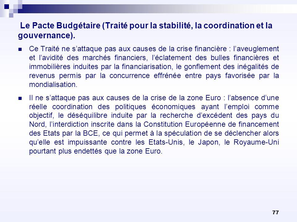 77 Le Pacte Budgétaire (Traité pour la stabilité, la coordination et la gouvernance). Ce Traité ne sattaque pas aux causes de la crise financière : la