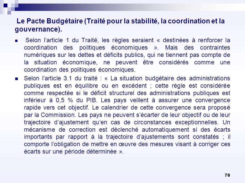 78 Le Pacte Budgétaire (Traité pour la stabilité, la coordination et la gouvernance). Selon larticle 1 du Traité, les règles seraient « destinées à re
