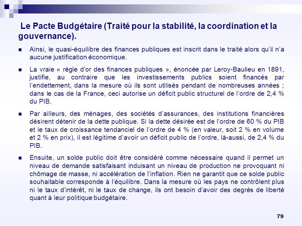 79 Le Pacte Budgétaire (Traité pour la stabilité, la coordination et la gouvernance). Ainsi, le quasi-équilibre des finances publiques est inscrit dan