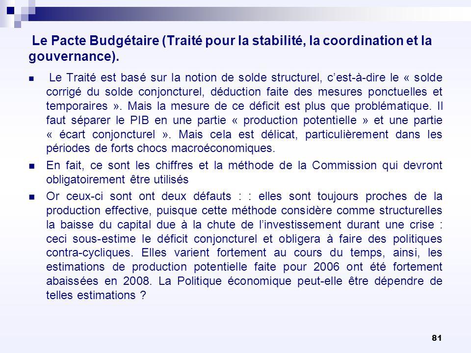 81 Le Pacte Budgétaire (Traité pour la stabilité, la coordination et la gouvernance). Le Traité est basé sur la notion de solde structurel, cest-à-dir
