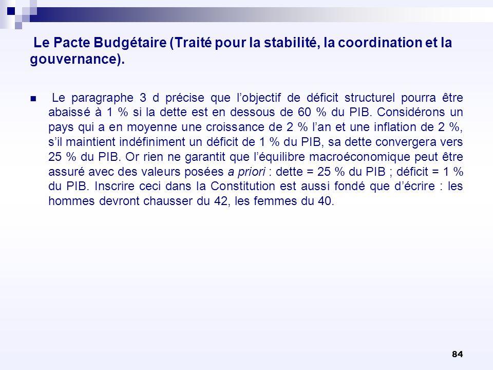 84 Le Pacte Budgétaire (Traité pour la stabilité, la coordination et la gouvernance). Le paragraphe 3 d précise que lobjectif de déficit structurel po