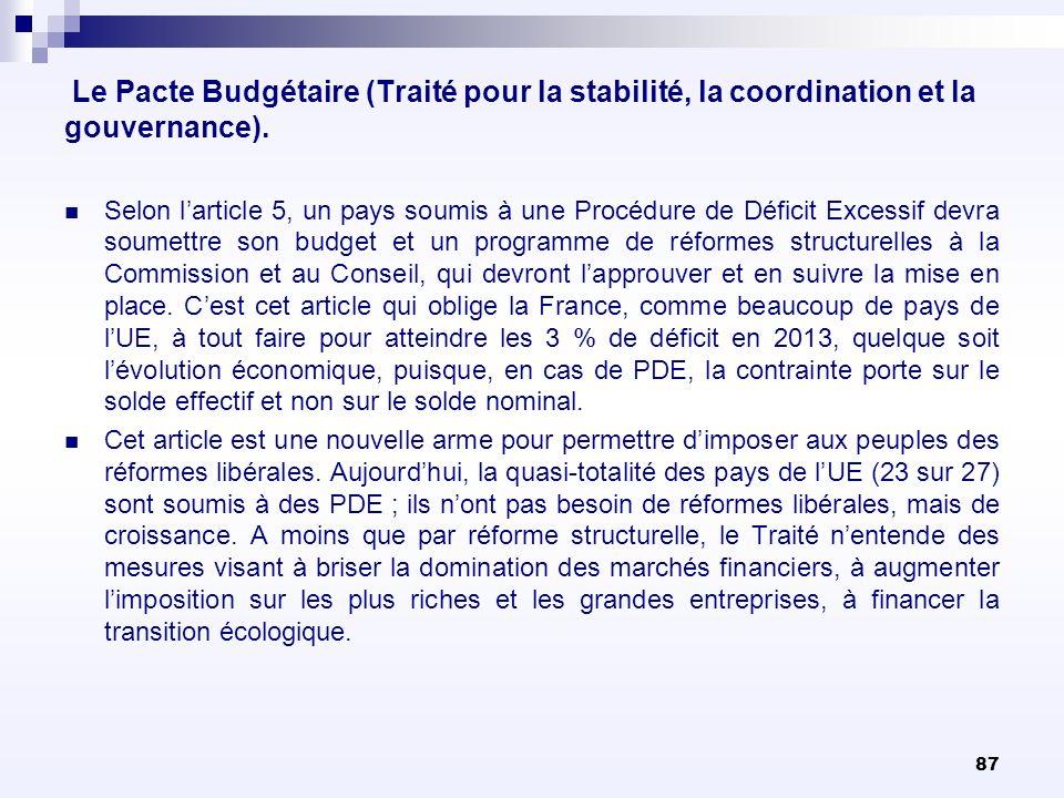 87 Le Pacte Budgétaire (Traité pour la stabilité, la coordination et la gouvernance). Selon larticle 5, un pays soumis à une Procédure de Déficit Exce
